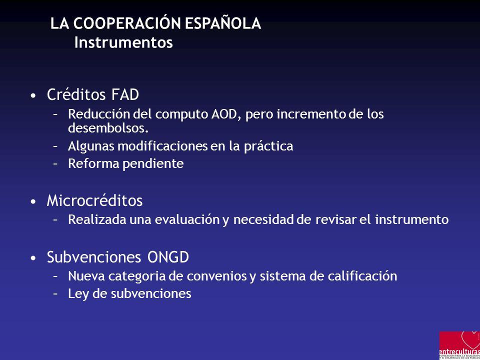 LA COOPERACIÓN ESPAÑOLA Instrumentos Créditos FAD –Reducción del computo AOD, pero incremento de los desembolsos. –Algunas modificaciones en la prácti