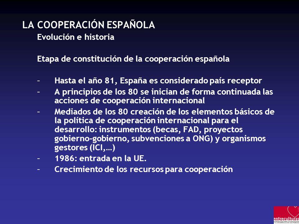 LA COOPERACIÓN ESPAÑOLA Evolución e historia Etapa de constitución de la cooperación española –Hasta el año 81, España es considerado país receptor –A