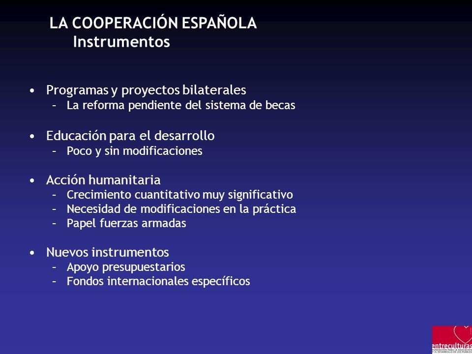 LA COOPERACIÓN ESPAÑOLA Instrumentos Programas y proyectos bilaterales –La reforma pendiente del sistema de becas Educación para el desarrollo –Poco y