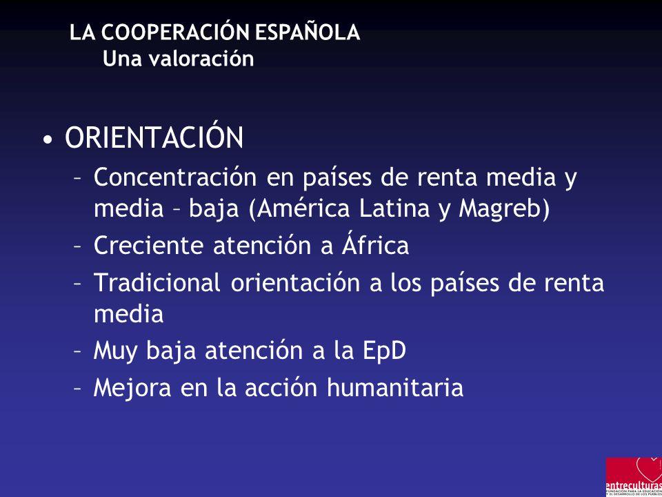 LA COOPERACIÓN ESPAÑOLA Una valoración ORIENTACIÓN –Concentración en países de renta media y media – baja (América Latina y Magreb) –Creciente atenció