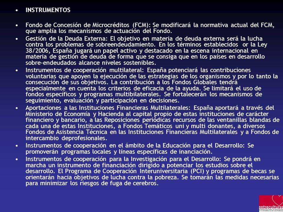 INSTRUMENTOS Fondo de Concesión de Microcréditos (FCM): Se modificará la normativa actual del FCM, que amplía los mecanismos de actuación del Fondo. G