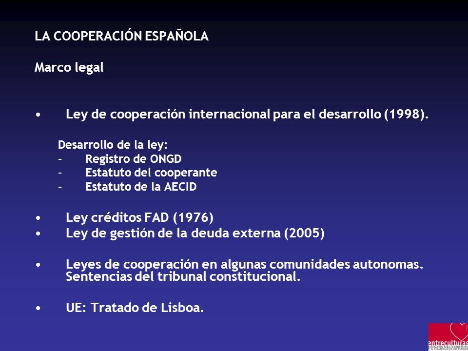 LA COOPERACIÓN ESPAÑOLA Marco legal Ley de cooperación internacional para el desarrollo (1998). Desarrollo de la ley: –Registro de ONGD –Estatuto del