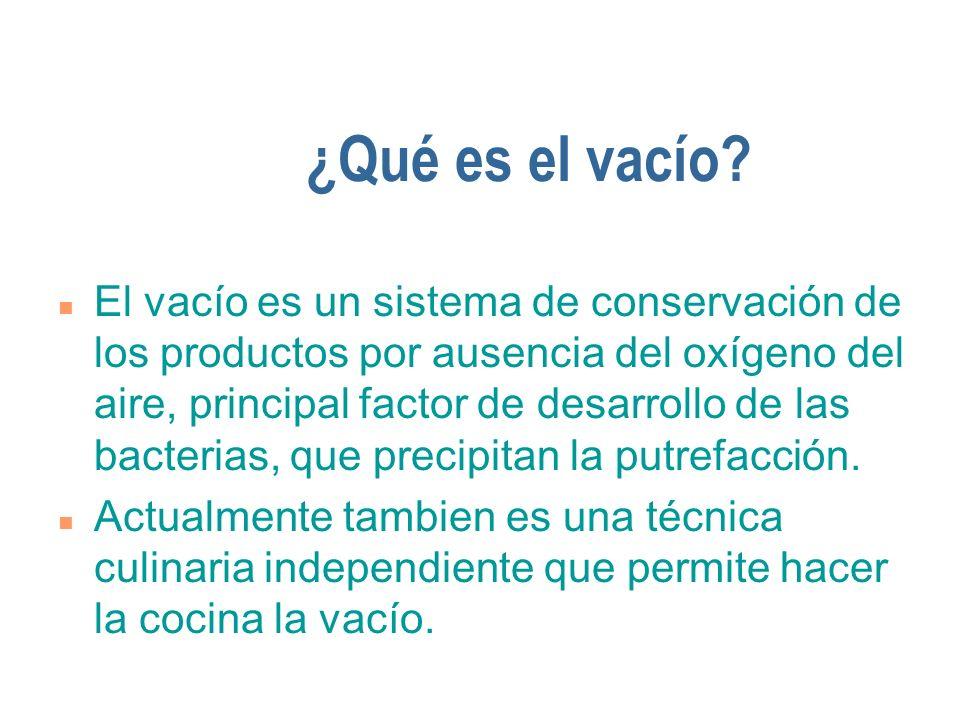 ¿Qué es el vacío? n El vacío es un sistema de conservación de los productos por ausencia del oxígeno del aire, principal factor de desarrollo de las b