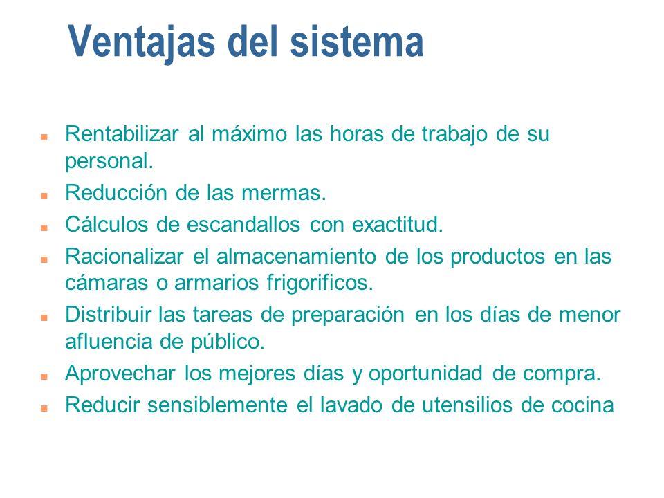 Ventajas del sistema n Rentabilizar al máximo las horas de trabajo de su personal. n Reducción de las mermas. n Cálculos de escandallos con exactitud.