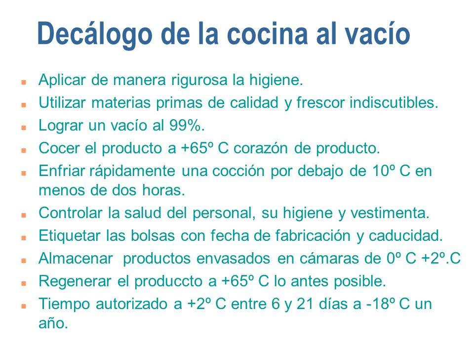 Decálogo de la cocina al vacío n Aplicar de manera rigurosa la higiene. n Utilizar materias primas de calidad y frescor indiscutibles. n Lograr un vac