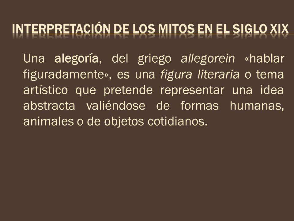 Una alegoría, del griego allegorein «hablar figuradamente», es una figura literaria o tema artístico que pretende representar una idea abstracta valié