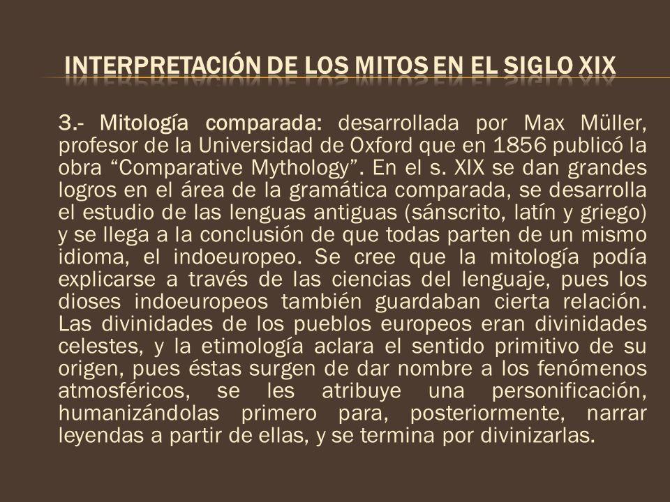3.- Mitología comparada: desarrollada por Max Müller, profesor de la Universidad de Oxford que en 1856 publicó la obra Comparative Mythology. En el s.