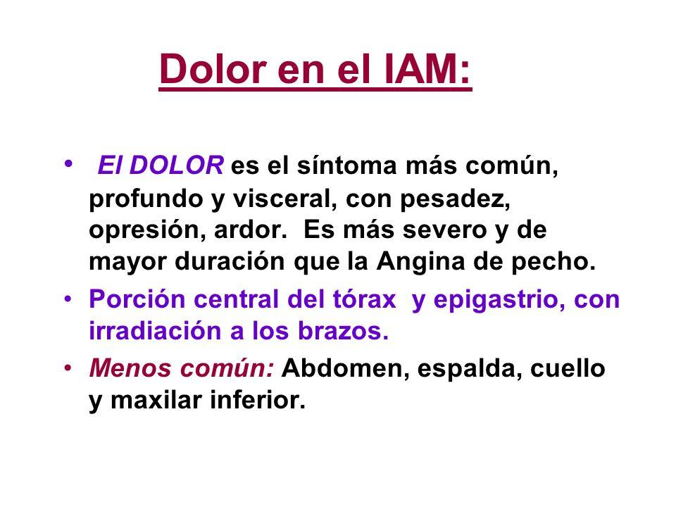 Dolor en el IAM: El DOLOR es el síntoma más común, profundo y visceral, con pesadez, opresión, ardor. Es más severo y de mayor duración que la Angina