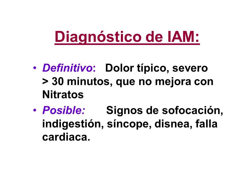 Diagnóstico de IAM: Definitivo: Dolor típico, severo > 30 minutos, que no mejora con Nitratos Posible: Signos de sofocación, indigestión, síncope, dis
