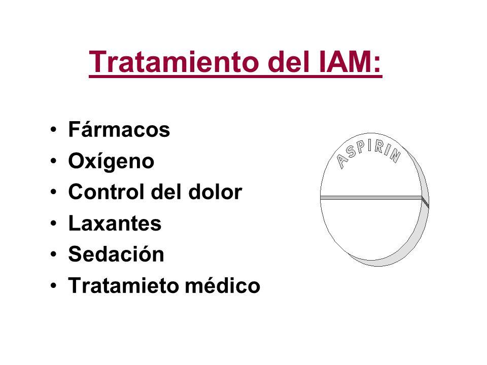 Tratamiento del IAM: Fármacos Oxígeno Control del dolor Laxantes Sedación Tratamieto médico