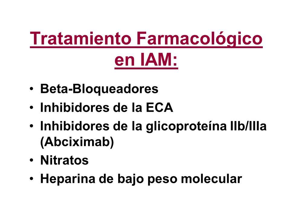 Tratamiento Farmacológico en IAM: Beta-Bloqueadores Inhibidores de la ECA Inhibidores de la glicoproteína IIb/IIIa (Abciximab) Nitratos Heparina de ba