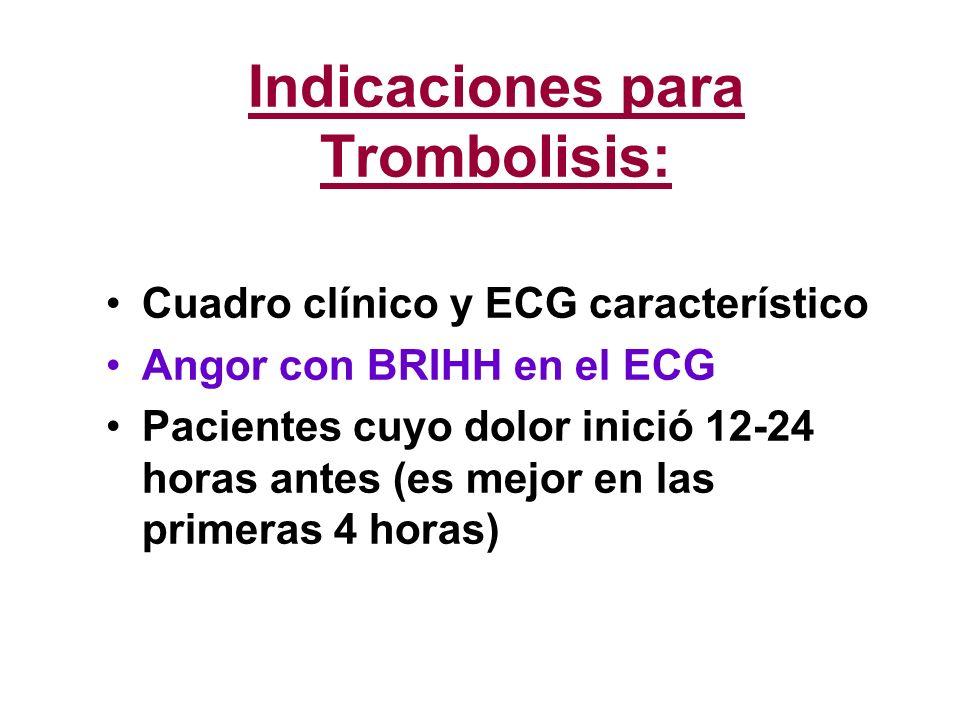 Indicaciones para Trombolisis: Cuadro clínico y ECG característico Angor con BRIHH en el ECG Pacientes cuyo dolor inició 12-24 horas antes (es mejor e