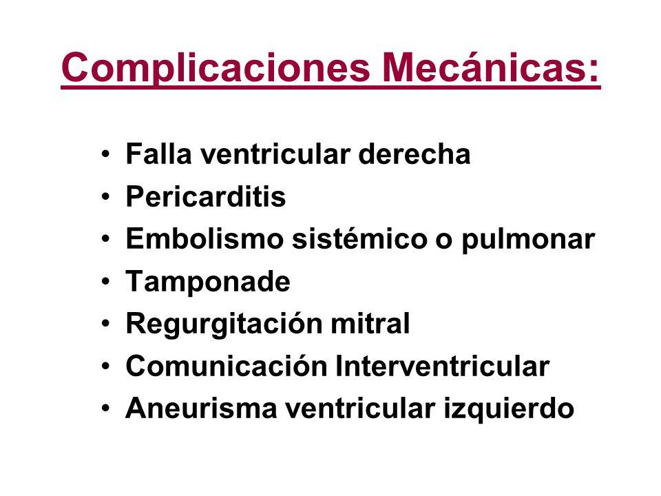 Complicaciones Mecánicas: Falla ventricular derecha Pericarditis Embolismo sistémico o pulmonar Tamponade Regurgitación mitral Comunicación Interventr