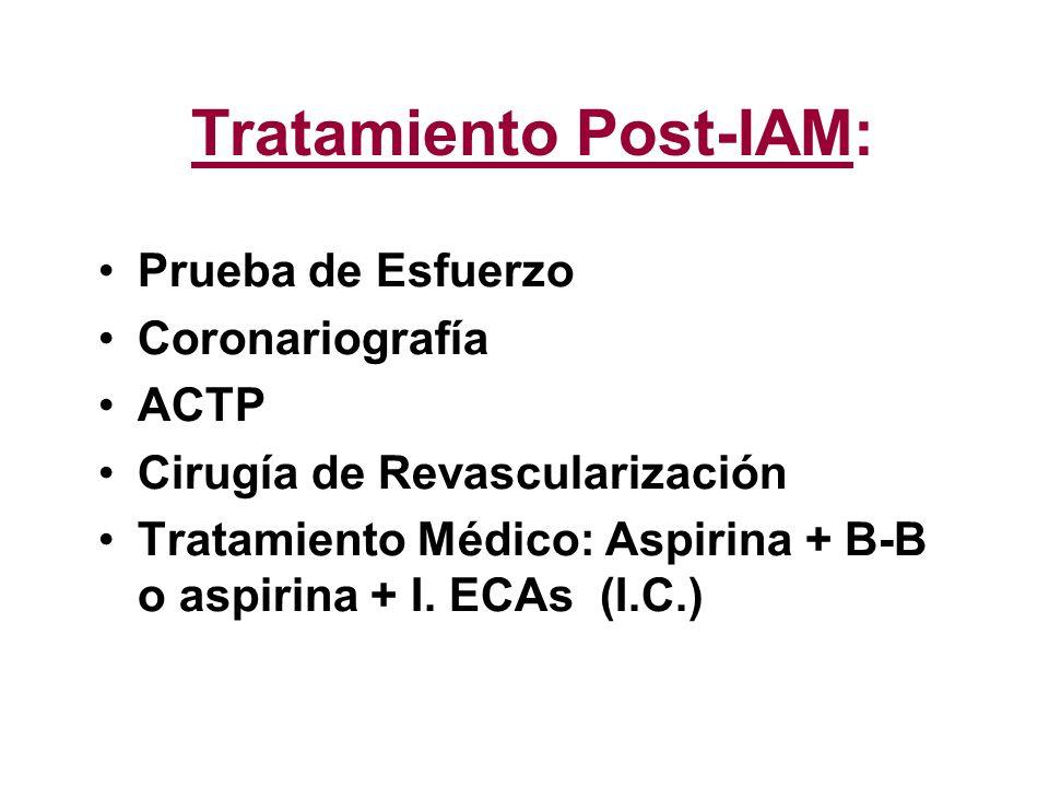 Tratamiento Post-IAM: Prueba de Esfuerzo Coronariografía ACTP Cirugía de Revascularización Tratamiento Médico: Aspirina + B-B o aspirina + I. ECAs (I.