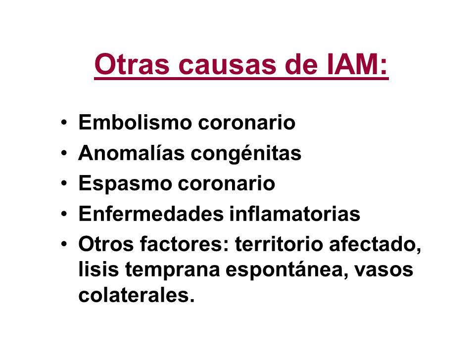 Otras causas de IAM: Embolismo coronario Anomalías congénitas Espasmo coronario Enfermedades inflamatorias Otros factores: territorio afectado, lisis
