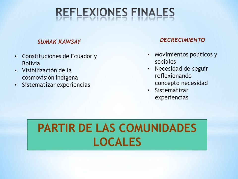 SUMAK KAWSAY Constituciones de Ecuador y Bolivia Visibilización de la cosmovisión indígena Sistematizar experiencias DECRECIMIENTO Movimientos polític