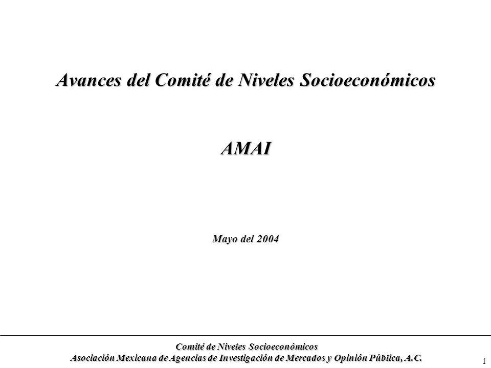 1 Avances del Comité de Niveles Socioeconómicos AMAI Mayo del 2004 Comité de Niveles Socioeconómicos Asociación Mexicana de Agencias de Investigación