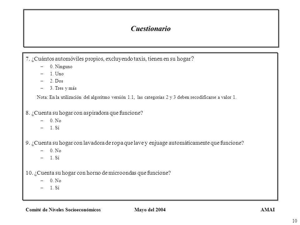 AMAIComité de Niveles SocioeconómicosMayo del 2004 10 Cuestionario 7. ¿Cuántos automóviles propios, excluyendo taxis, tienen en su hogar ? –0. Ninguno