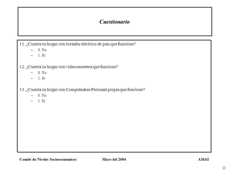 AMAIComité de Niveles SocioeconómicosMayo del 2004 11 Cuestionario 11. ¿Cuenta su hogar con tostador eléctrico de pan que funcione? –0. No –1. Sí 12.