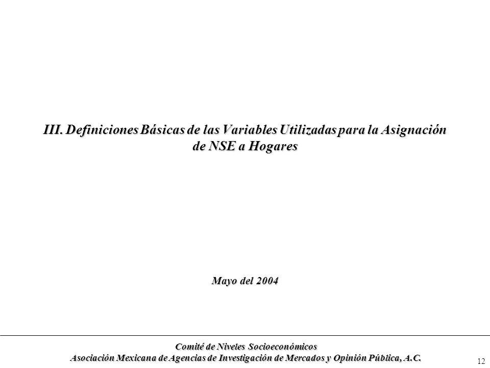 12 III. Definiciones Básicas de las Variables Utilizadas para la Asignación de NSE a Hogares Mayo del 2004 Comité de Niveles Socioeconómicos Asociació
