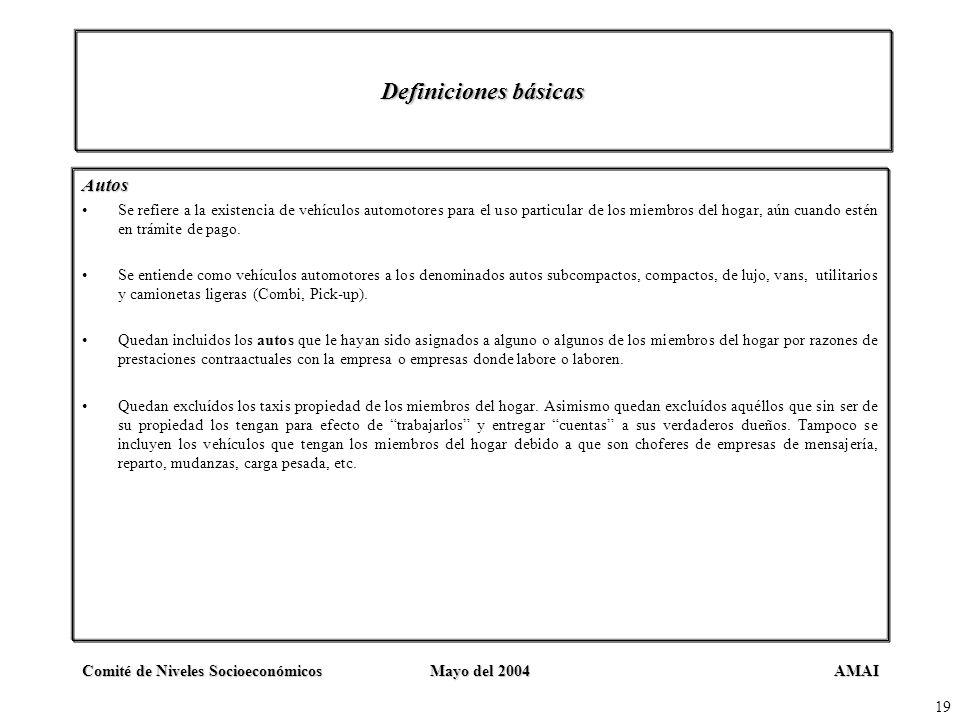 AMAIComité de Niveles SocioeconómicosMayo del 2004 19 Definiciones básicas Autos Se refiere a la existencia de vehículos automotores para el uso parti
