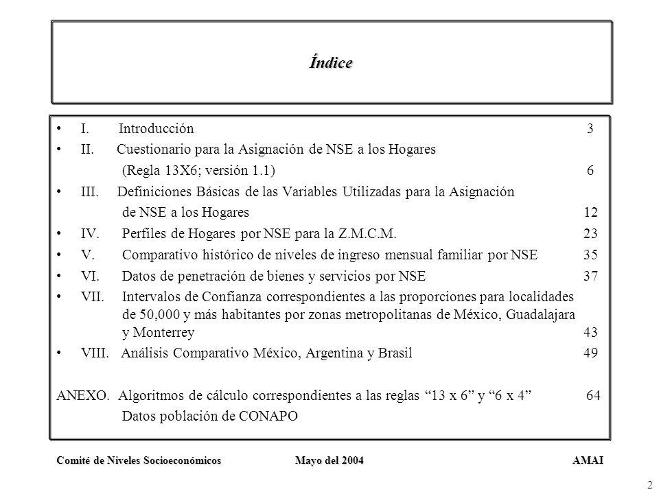 AMAIComité de Niveles SocioeconómicosMayo del 2004 2 Índice I. Introducción 3 II. Cuestionario para la Asignación de NSE a los Hogares (Regla 13X6; ve