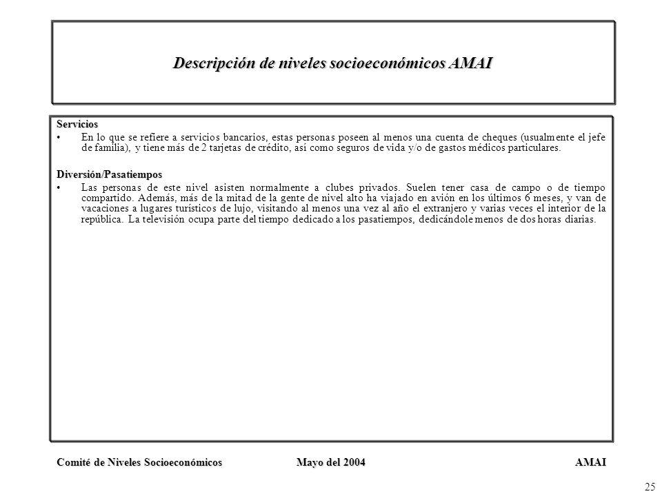AMAIComité de Niveles SocioeconómicosMayo del 2004 25 Descripción de niveles socioeconómicos AMAI Servicios En lo que se refiere a servicios bancarios