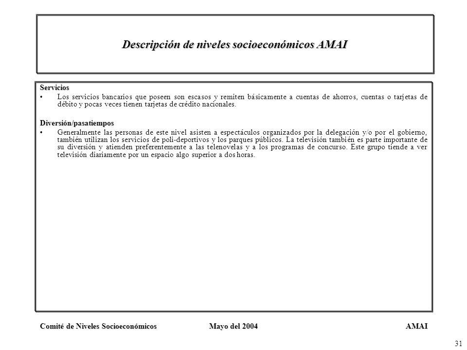 AMAIComité de Niveles SocioeconómicosMayo del 2004 31 Descripción de niveles socioeconómicos AMAI Servicios Los servicios bancarios que poseen son esc