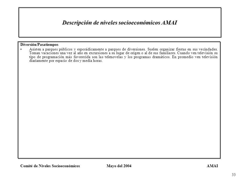AMAIComité de Niveles SocioeconómicosMayo del 2004 33 Descripción de niveles socioeconómicos AMAI Diversión/Pasatiempos Asisten a parques públicos y e