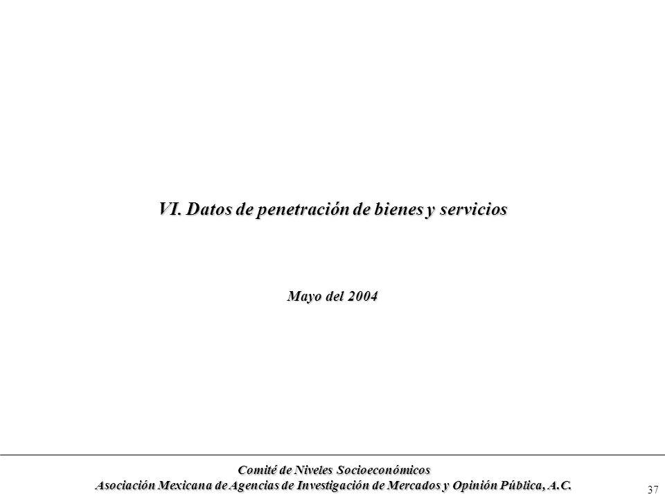 37 VI. Datos de penetración de bienes y servicios Mayo del 2004 Comité de Niveles Socioeconómicos Asociación Mexicana de Agencias de Investigación de