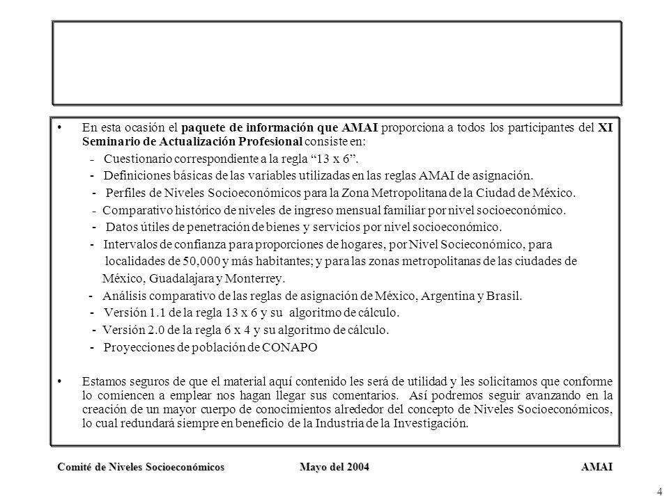 AMAIComité de Niveles SocioeconómicosMayo del 2004 4 En esta ocasión el paquete de información que AMAI proporciona a todos los participantes del XI S