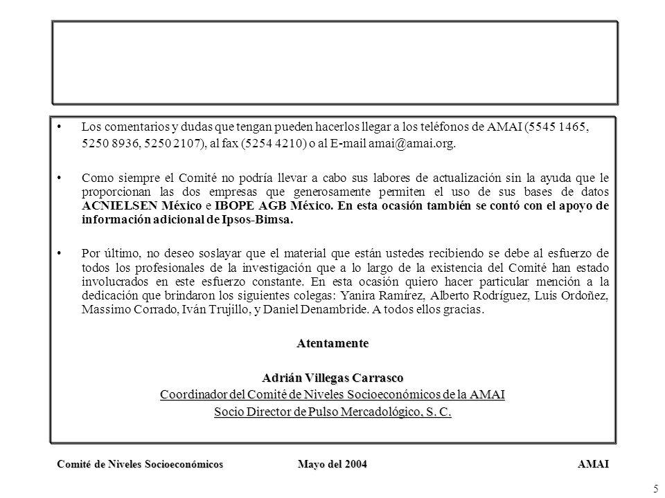 AMAIComité de Niveles SocioeconómicosMayo del 2004 5 Los comentarios y dudas que tengan pueden hacerlos llegar a los teléfonos de AMAI (5545 1465, 525