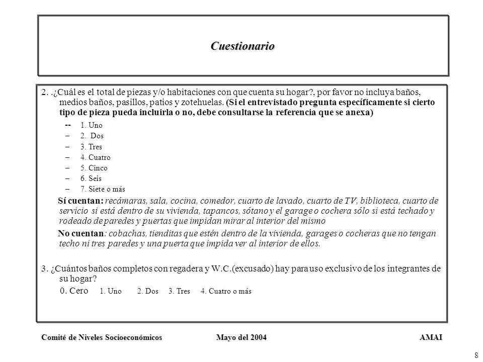 AMAIComité de Niveles SocioeconómicosMayo del 2004 8 Cuestionario 2..¿Cuál es el total de piezas y/o habitaciones con que cuenta su hogar?, por favor