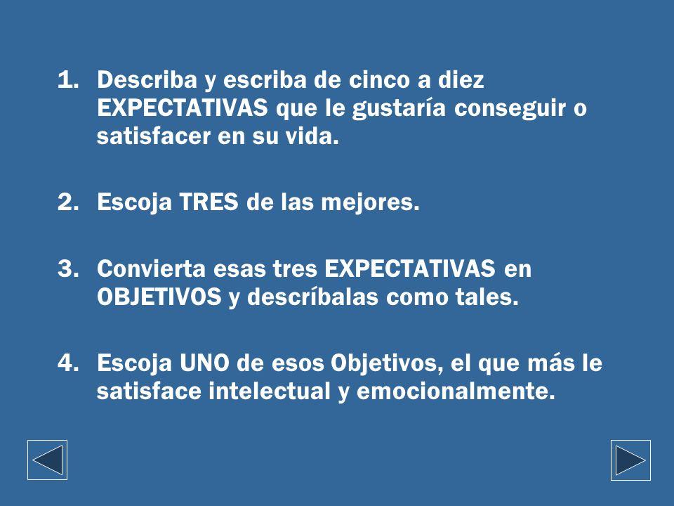1.Describa y escriba de cinco a diez EXPECTATIVAS que le gustaría conseguir o satisfacer en su vida. 2.Escoja TRES de las mejores. 3.Convierta esas tr