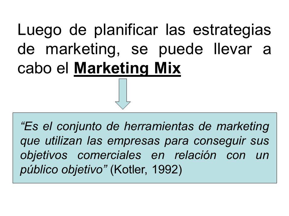 Luego de planificar las estrategias de marketing, se puede llevar a cabo el Marketing Mix Es el conjunto de herramientas de marketing que utilizan las