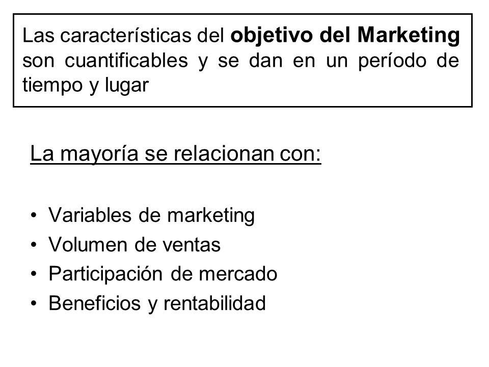 Las características del objetivo del Marketing son cuantificables y se dan en un período de tiempo y lugar La mayoría se relacionan con: Variables de