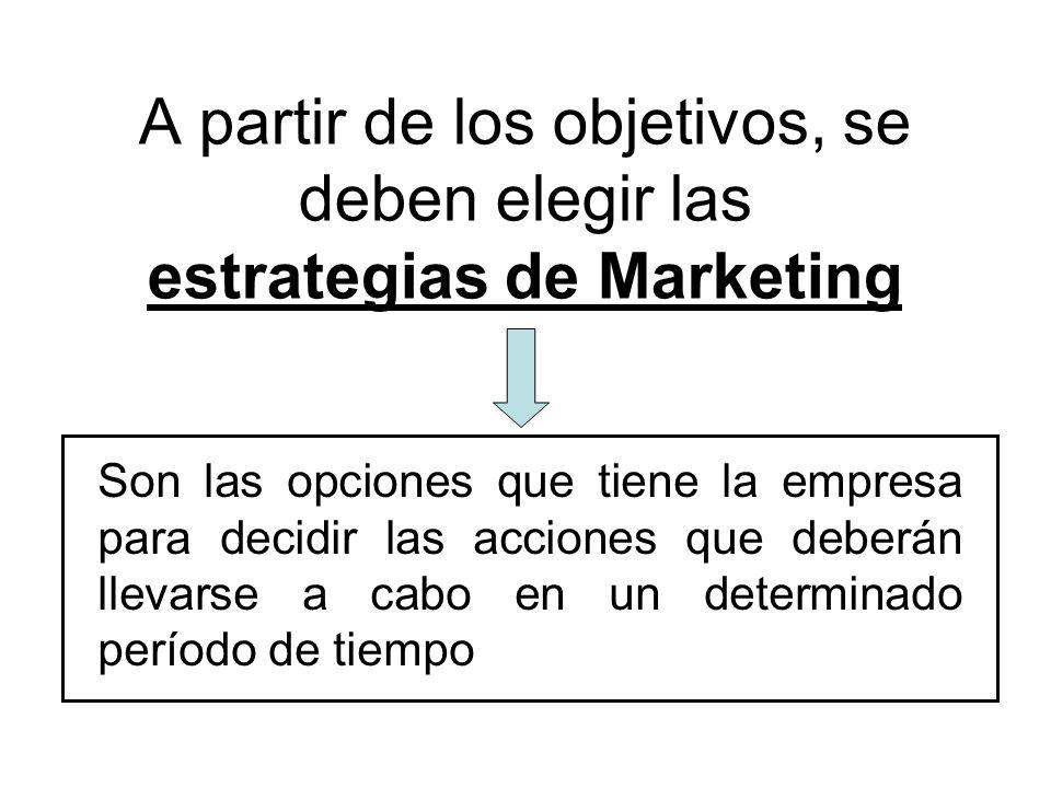 A partir de los objetivos, se deben elegir las estrategias de Marketing Son las opciones que tiene la empresa para decidir las acciones que deberán ll