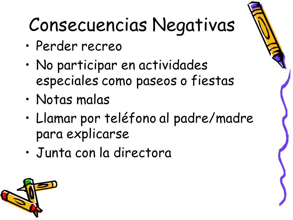 Consecuencias Negativas Perder recreo No participar en actividades especiales como paseos o fiestas Notas malas Llamar por teléfono al padre/madre par