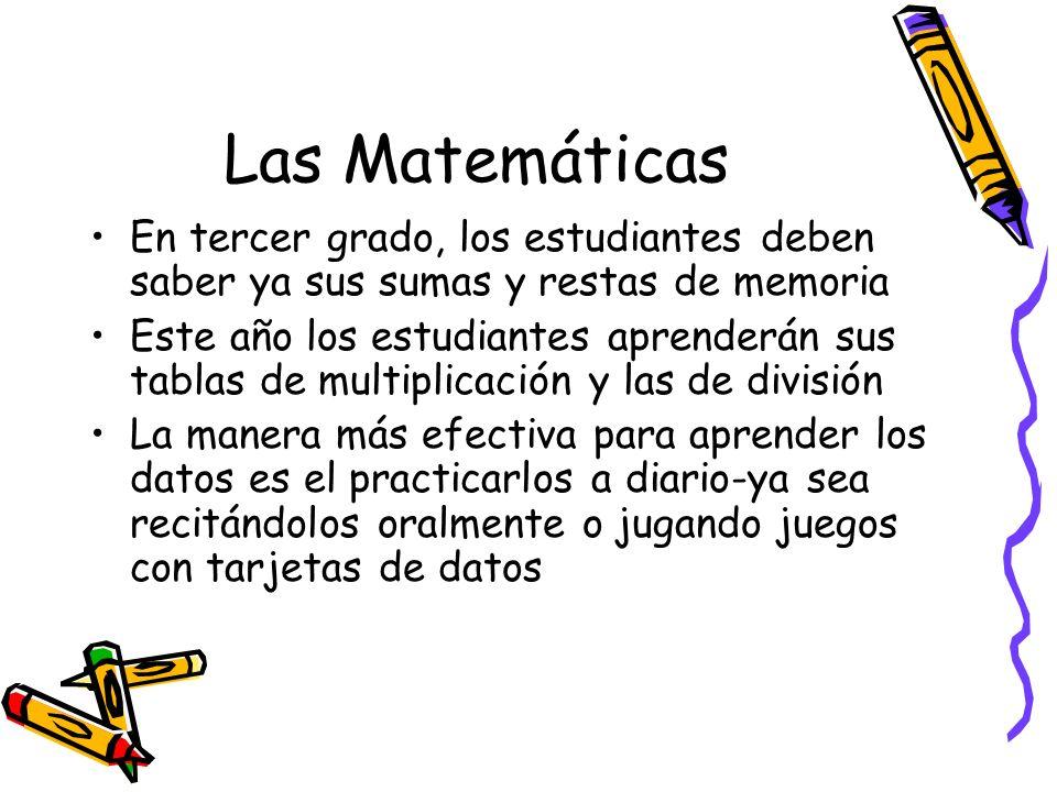 Las Matemáticas En tercer grado, los estudiantes deben saber ya sus sumas y restas de memoria Este año los estudiantes aprenderán sus tablas de multip