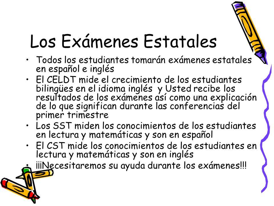 Los Exámenes Estatales Todos los estudiantes tomarán exámenes estatales en español e inglés El CELDT mide el crecimiento de los estudiantes bilingües