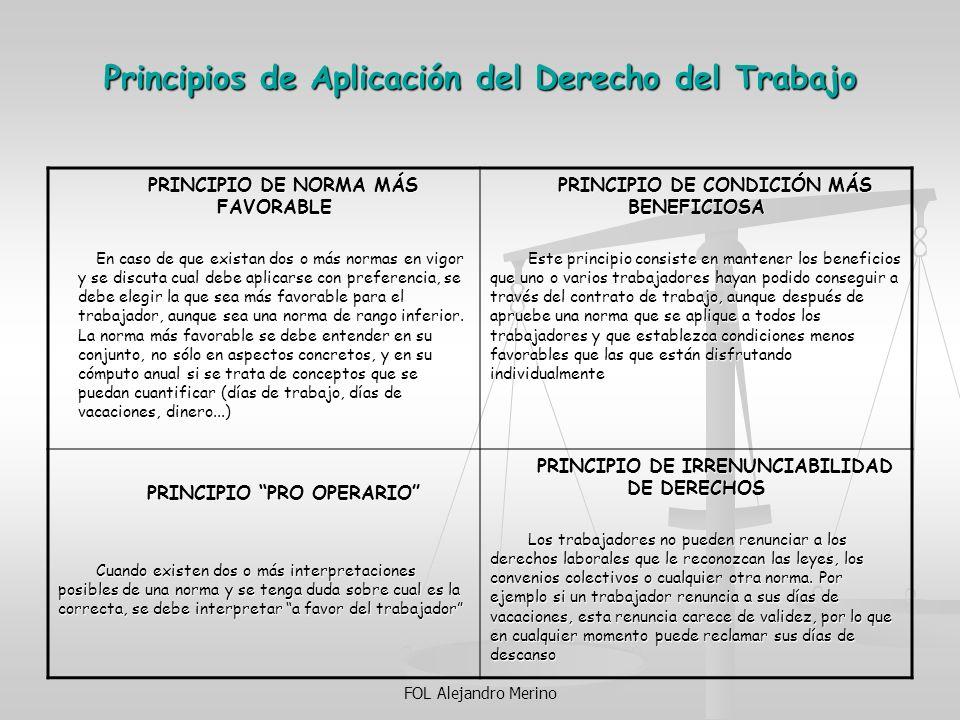 FOL Alejandro Merino Principios de Aplicación del Derecho del Trabajo PRINCIPIO DE NORMA MÁS FAVORABLE En caso de que existan dos o más normas en vigo