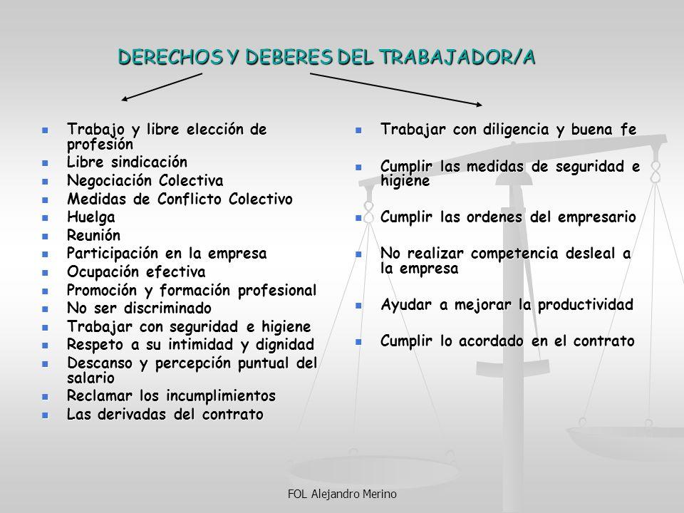 FOL Alejandro Merino DERECHOS Y DEBERES DEL TRABAJADOR/A Trabajo y libre elección de profesión Trabajo y libre elección de profesión Libre sindicación