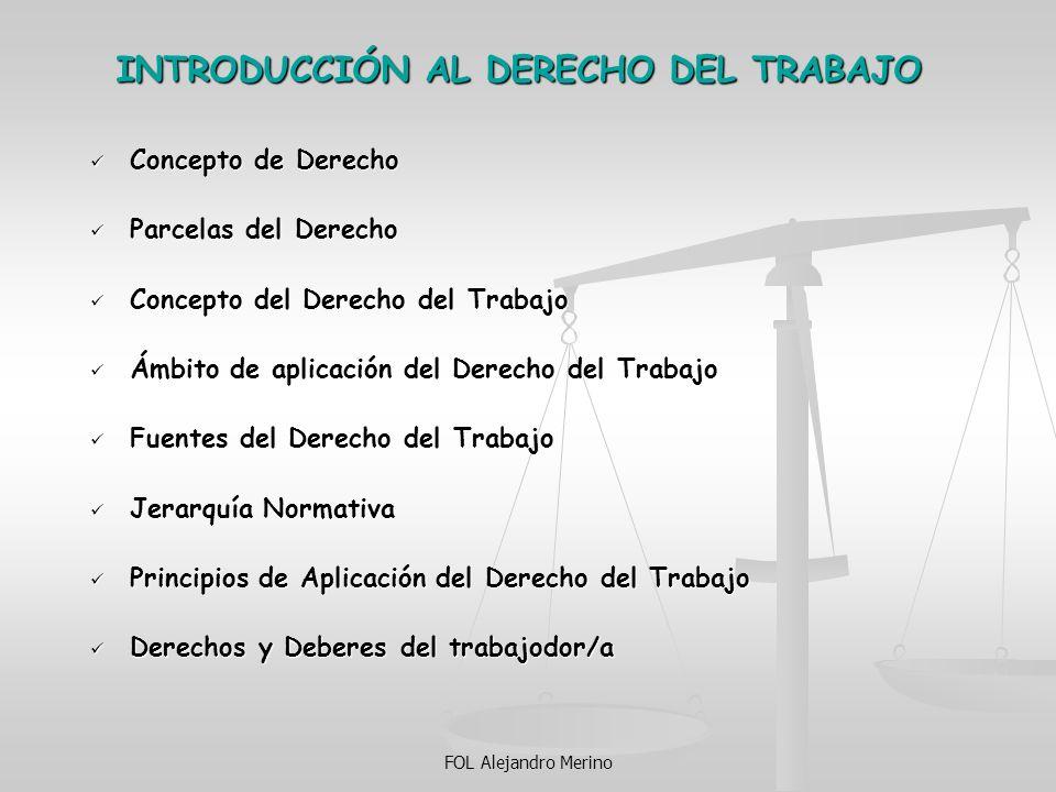 FOL Alejandro Merino INTRODUCCIÓN AL DERECHO DEL TRABAJO Concepto de Derecho Concepto de Derecho Parcelas del Derecho Parcelas del Derecho Concepto de