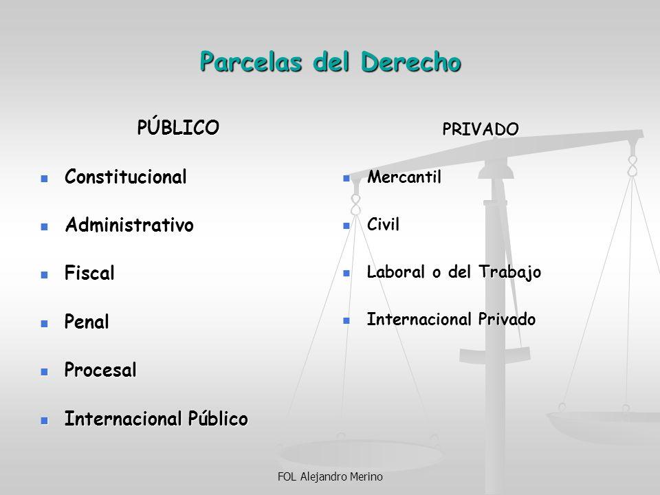 FOL Alejandro Merino Parcelas del Derecho PÚBLICO Constitucional Constitucional Administrativo Administrativo Fiscal Fiscal Penal Penal Procesal Proce