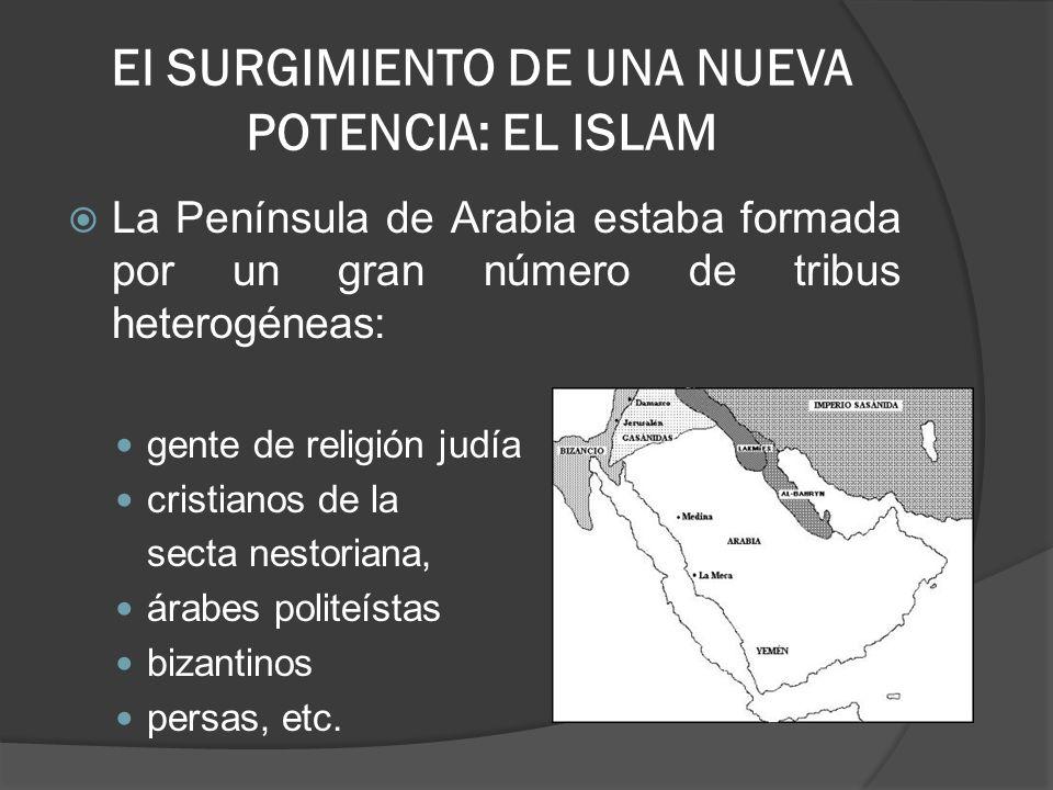 El SURGIMIENTO DE UNA NUEVA POTENCIA: EL ISLAM La Península de Arabia estaba formada por un gran número de tribus heterogéneas: gente de religión judí
