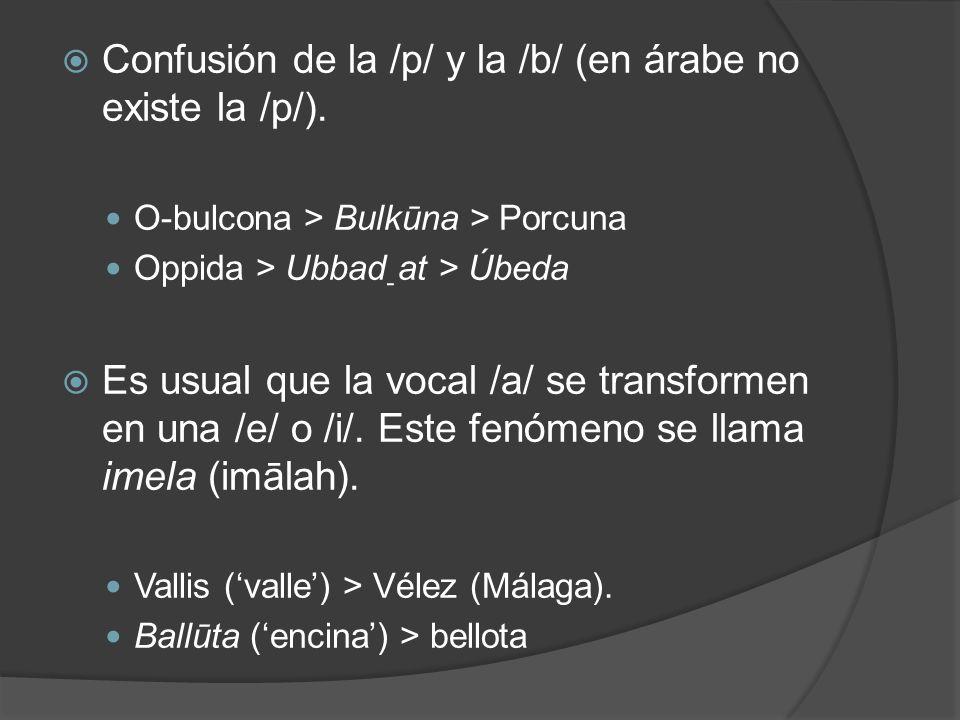 Confusión de la /p/ y la /b/ (en árabe no existe la /p/). O-bulcona > Bulkūna > Porcuna Oppida > Ubbad ַ at > Úbeda Es usual que la vocal /a/ se trans