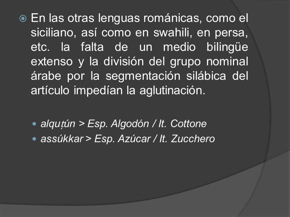 En las otras lenguas románicas, como el siciliano, así como en swahili, en persa, etc. la falta de un medio bilingüe extenso y la división del grupo n