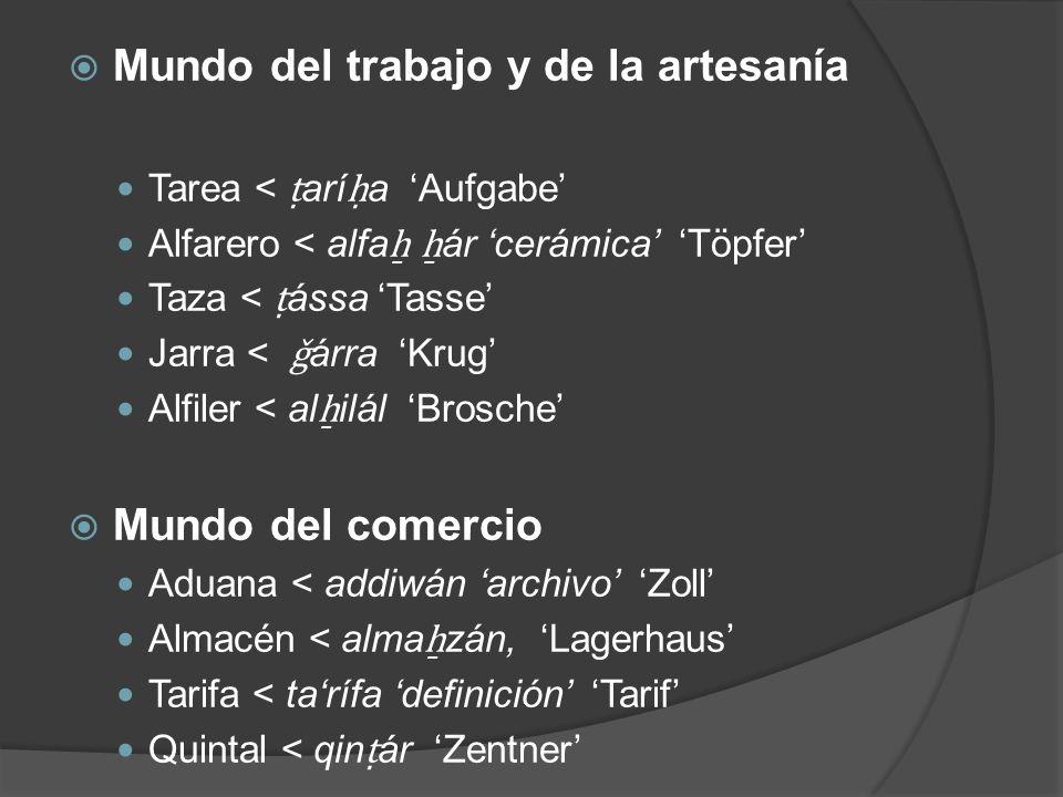Mundo del trabajo y de la artesanía Tarea < arí a Aufgabe Alfarero < alfa ár cerámica Töpfer Taza < ássa Tasse Jarra < ǧ árra Krug Alfiler < al ilál B