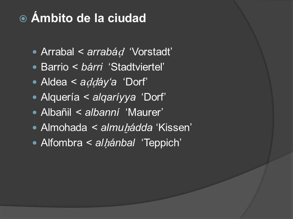 Ámbito de la ciudad Arrabal < arrabá Vorstadt Barrio < bárri Stadtviertel Aldea < a áya Dorf Alquería < alqaríyya Dorf Albañil < albanní Maurer Almoha