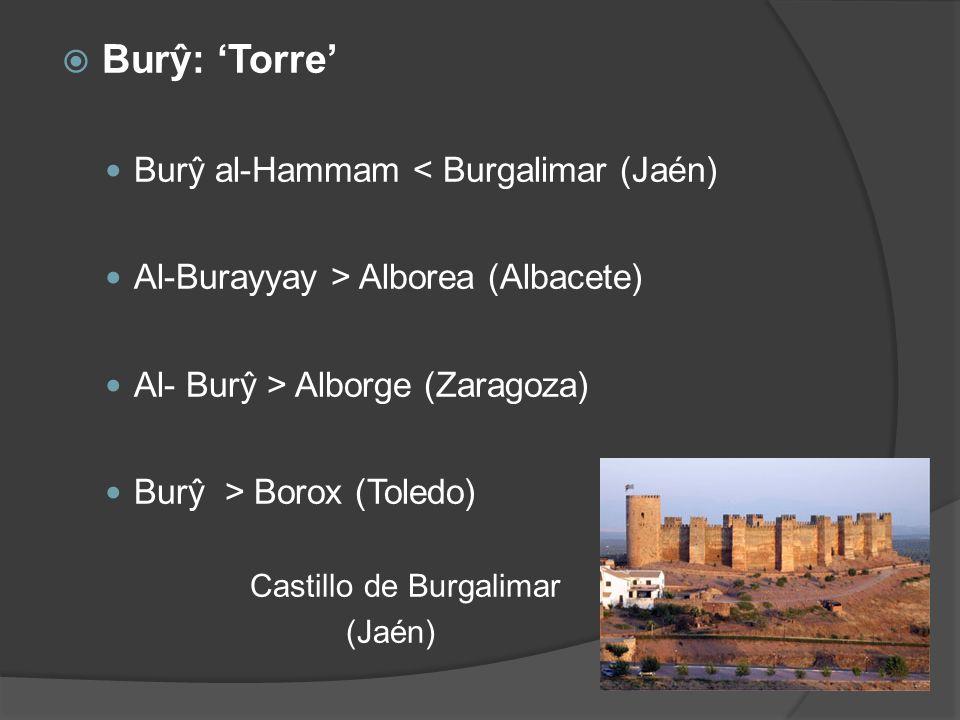 Burŷ: Torre Burŷ al-Hammam < Burgalimar (Jaén) Al-Burayyay > Alborea (Albacete) Al- Burŷ > Alborge (Zaragoza) Burŷ > Borox (Toledo) Castillo de Burgal